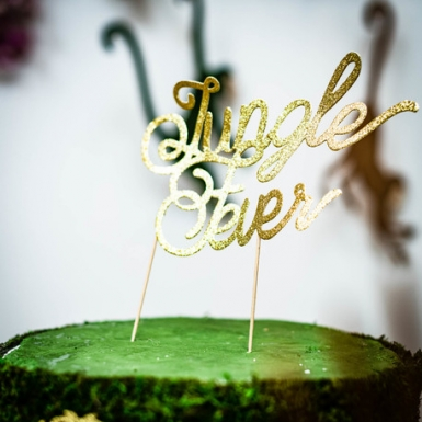 Cake topper en bois jungle fever doré 20 cm-1