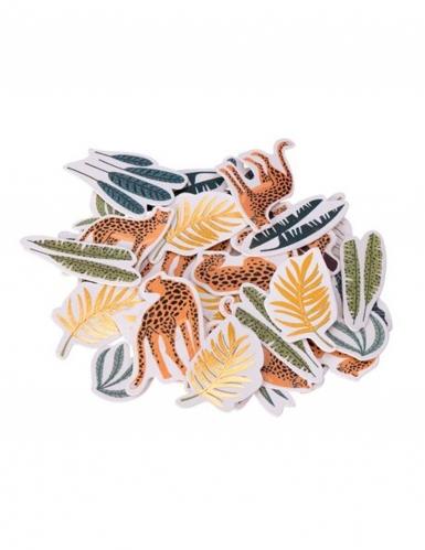 100 Confettis léopard et feuillages vert et dorure 2 à 4 cm