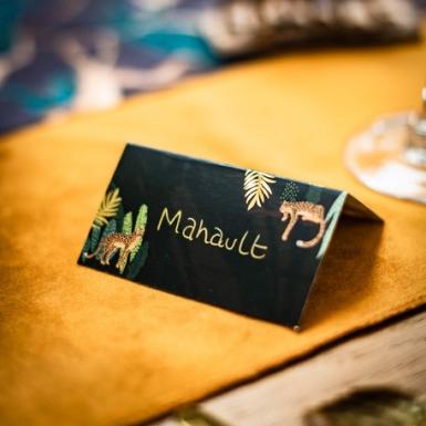 8 Marque-places en carton léopard et feuillages verts et dorures 9 x 5 cm-1