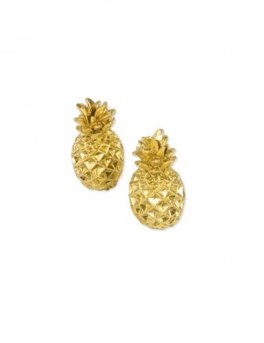 2 Marque-places ananas en résine dorés 5,5 cm