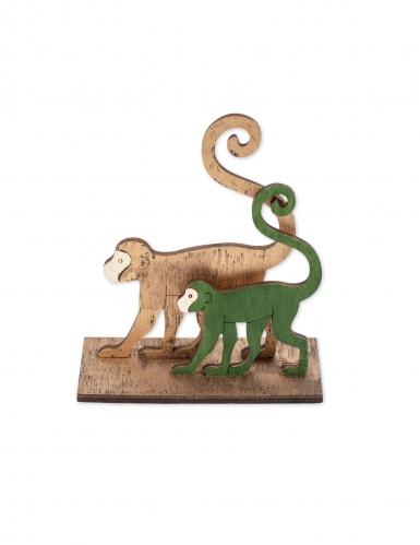 2 Singes sur socle en bois verts et dorés 11 x 5 x 12 cm