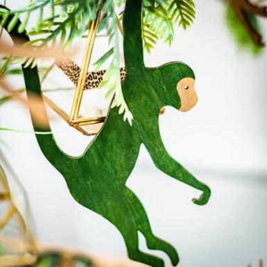 Singe à suspendre en bois vert foncé 20 x 35 cm-2