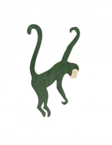 Singe à suspendre en bois vert foncé 20 x 35 cm-1