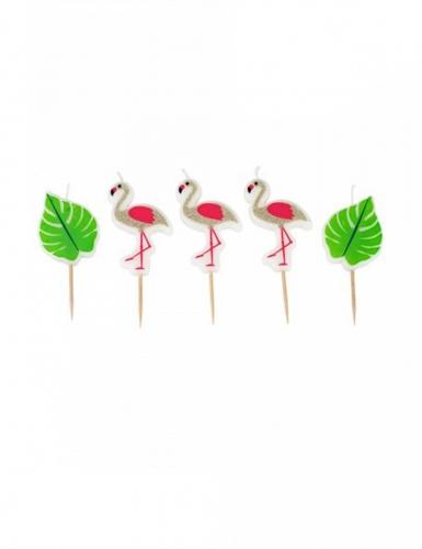5 Bougies sur pic flamingo 5,5 cm