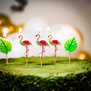 5 Bougies sur pic flamingo 5,5 cm-1