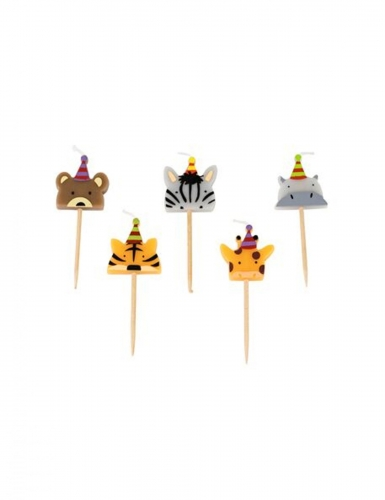 5 Bougies sur pic animaux sauvages 2,5 x 2,5 cm