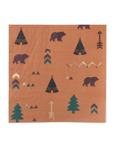 16 Serviettes en papier indian forest marron vert et dorures 33 x 33 cm