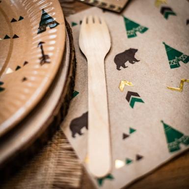 16 Serviettes en papier indian forest marron vert et dorures 33 x 33 cm-1