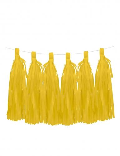 6 Pompons tassel jaunes 35 cm
