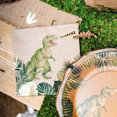 16 Serviettes en papier dinosaure vertes et dorures 33 x 33 cm-1