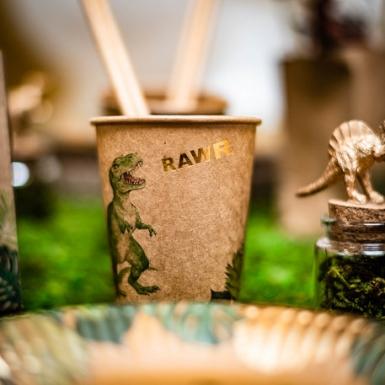 8 Gobelets en carton dinosaure verts et dorés 250 ml-1