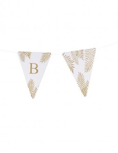 5 Fanions lettres blanc fougères paillettes dorées 15 x 21 cm-1