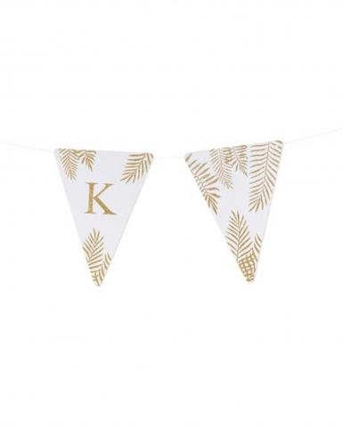 5 Fanions lettres blanc fougères paillettes dorées 15 x 21 cm-10