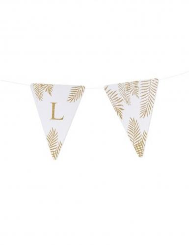 5 Fanions lettres blanc fougères paillettes dorées 15 x 21 cm-11