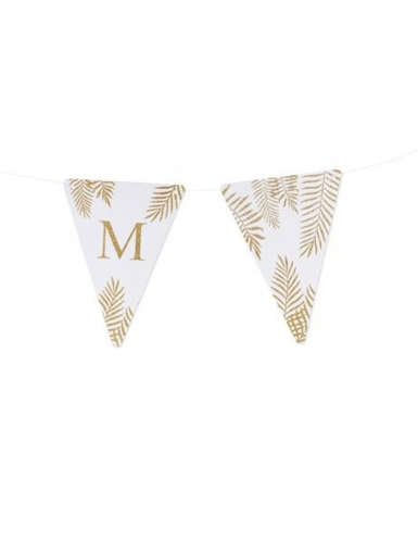 5 Fanions lettres blanc fougères paillettes dorées 15 x 21 cm-12