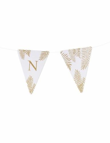 5 Fanions lettres blanc fougères paillettes dorées 15 x 21 cm-13