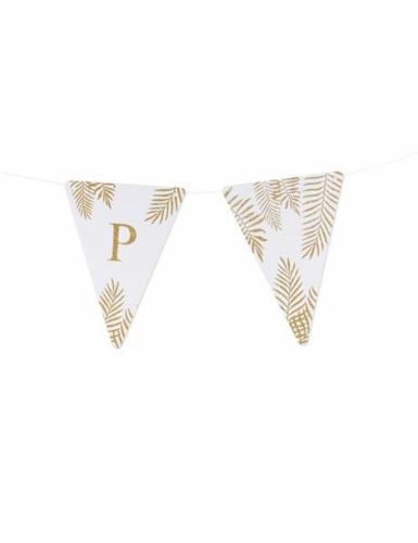 5 Fanions lettres blanc fougères paillettes dorées 15 x 21 cm-15
