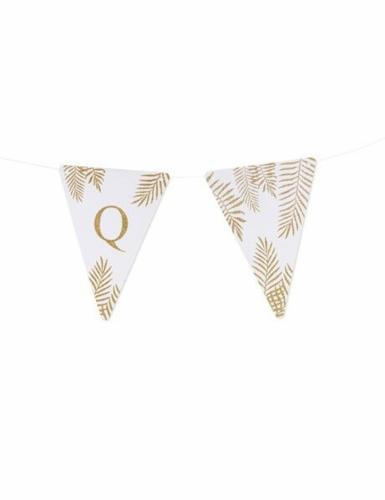 5 Fanions lettres blanc fougères paillettes dorées 15 x 21 cm-16