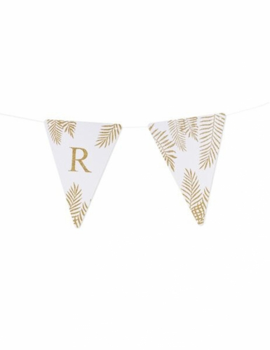 5 Fanions lettres blanc fougères paillettes dorées 15 x 21 cm-17