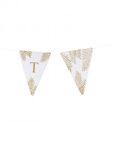 5 Fanions lettres blanc fougères paillettes dorées 15 x 21 cm-19