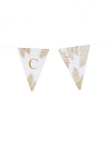 5 Fanions lettres blanc fougères paillettes dorées 15 x 21 cm-2