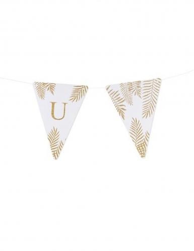 5 Fanions lettres blanc fougères paillettes dorées 15 x 21 cm-20