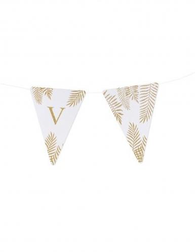 5 Fanions lettres blanc fougères paillettes dorées 15 x 21 cm-21