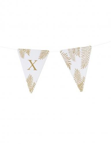 5 Fanions lettres blanc fougères paillettes dorées 15 x 21 cm-23