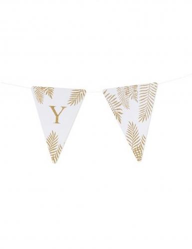 5 Fanions lettres blanc fougères paillettes dorées 15 x 21 cm-24