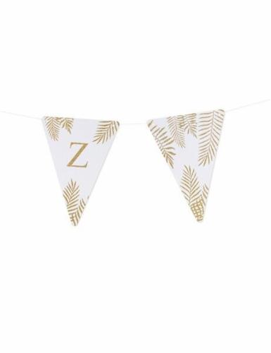 5 Fanions lettres blanc fougères paillettes dorées 15 x 21 cm-25