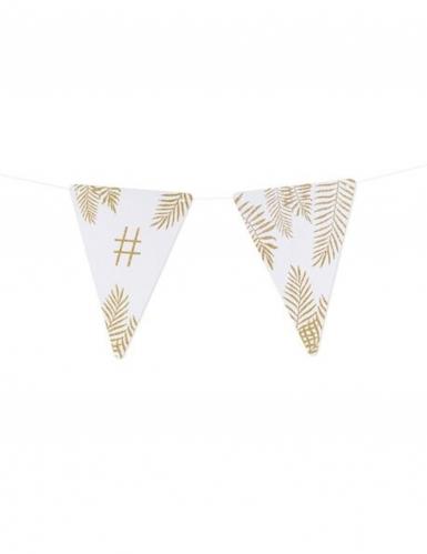 5 Fanions lettres blanc fougères paillettes dorées 15 x 21 cm-26