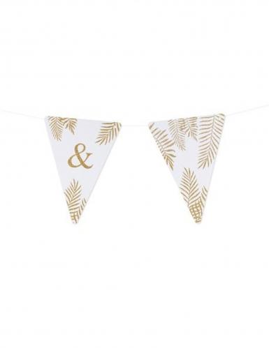 5 Fanions lettres blanc fougères paillettes dorées 15 x 21 cm-27