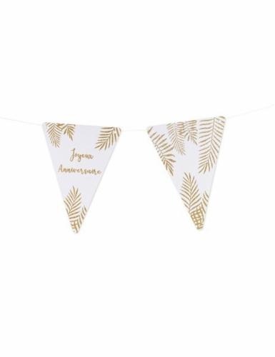 5 Fanions lettres blanc fougères paillettes dorées 15 x 21 cm-28
