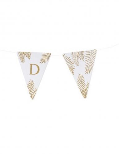 5 Fanions lettres blanc fougères paillettes dorées 15 x 21 cm-3