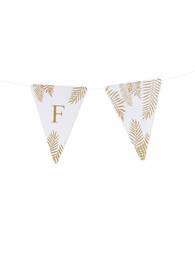 5 Fanions lettres blanc fougères paillettes dorées 15 x 21 cm-5