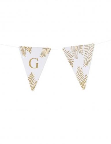 5 Fanions lettres blanc fougères paillettes dorées 15 x 21 cm-6