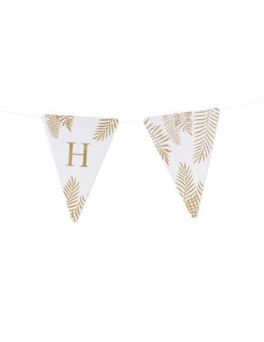 5 Fanions lettres blanc fougères paillettes dorées 15 x 21 cm-7