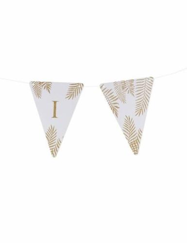 5 Fanions lettres blanc fougères paillettes dorées 15 x 21 cm-8