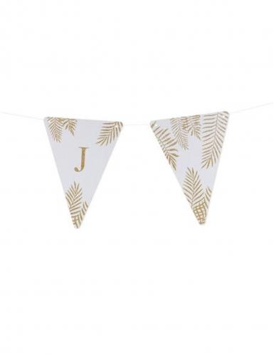 5 Fanions lettres blanc fougères paillettes dorées 15 x 21 cm-9