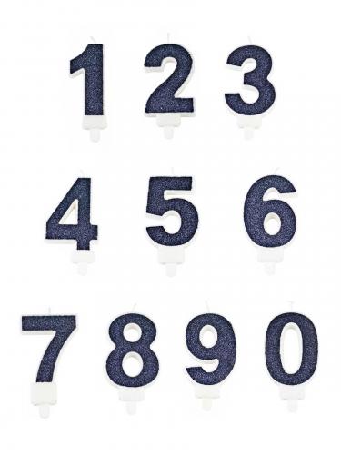Bougie avec bobèche chiffre paillettes bleue marine 7,3 cm-1