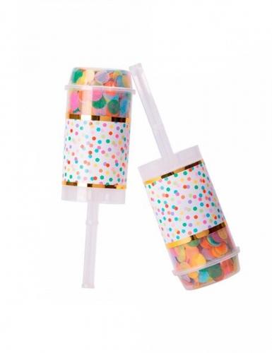 2 Poppers confettis multicolores 7 gr 18 cm