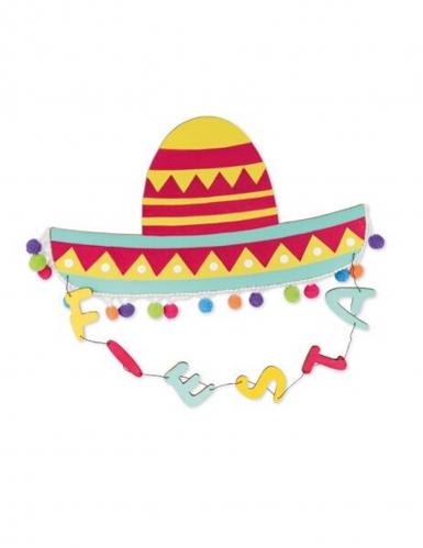 Suspension chapeau mexicain multicolore et pompons 30 x 28 x 0,5 cm