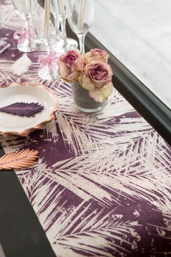 Chemin de table en coton végétal métal rose gold 3 m-1