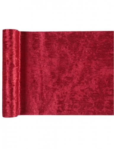 Chemin de table effet velours rouge 27 cm x 3 m