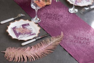 Plume en métal rose gold 12,5 x 48 cm-1