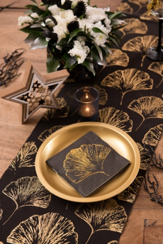 20 Petites serviettes en papier feuillage métal noires 12,5 x 12,5 cm-1