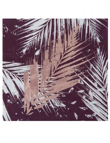 20 Petites serviettes en papier végétal métal rose gold 12,5 x 12,5 cm
