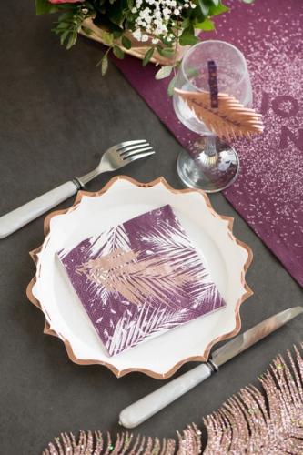 20 Petites serviettes en papier végétal métal rose gold 12,5 x 12,5 cm-1