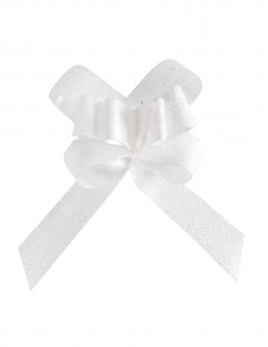 10 Petits noeuds automatiques pailletés blancs 14 mm