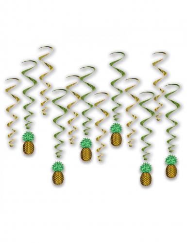 12 Suspensions en spirales ananas 43 - 86 cm